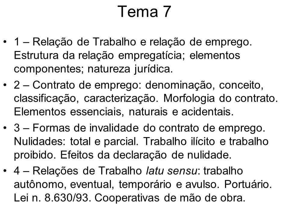 Tema 7 1 – Relação de Trabalho e relação de emprego. Estrutura da relação empregatícia; elementos componentes; natureza jurídica.