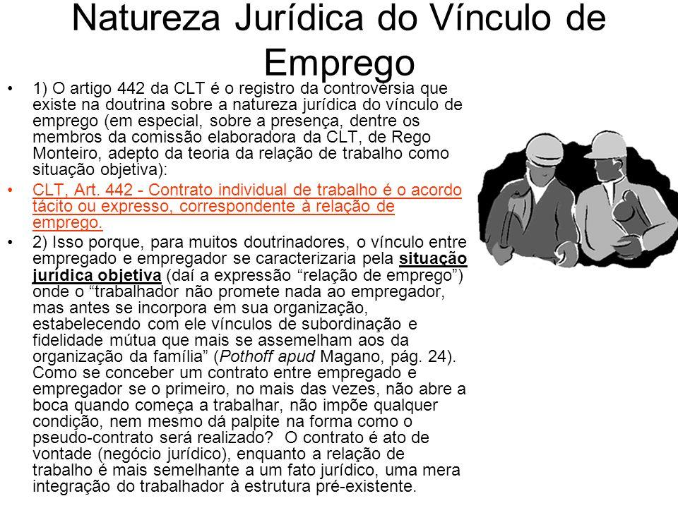 Natureza Jurídica do Vínculo de Emprego