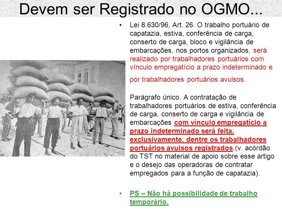 Devem ser Registrado no OGMO...