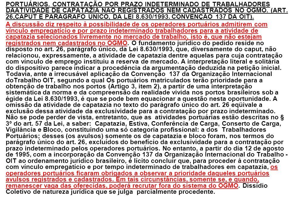 PORTUÁRIOS. CONTRATAÇÃO POR PRAZO INDETERMINADO DE TRABALHADORES DAATIVIDADE DE CAPATAZIA NÃO REGISTRADOS NEM CADASTRADOS NO OGMO. (ART. 26,CAPUT E PARÁGRAFO ÚNICO, DA LEI 8.630/1993. CONVENÇÃO 137 DA OIT).