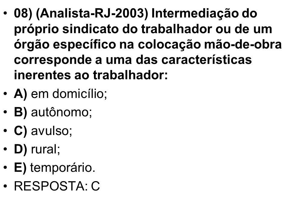 08) (Analista-RJ-2003) Intermediação do próprio sindicato do trabalhador ou de um órgão específico na colocação mão-de-obra corresponde a uma das características inerentes ao trabalhador: