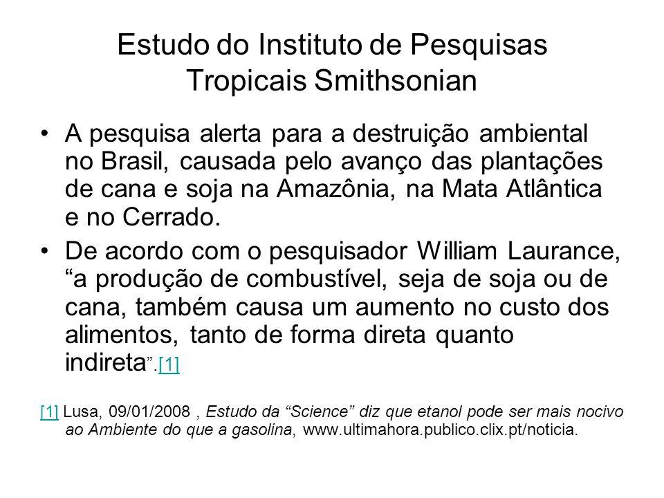 Estudo do Instituto de Pesquisas Tropicais Smithsonian