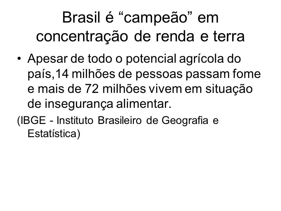 Brasil é campeão em concentração de renda e terra