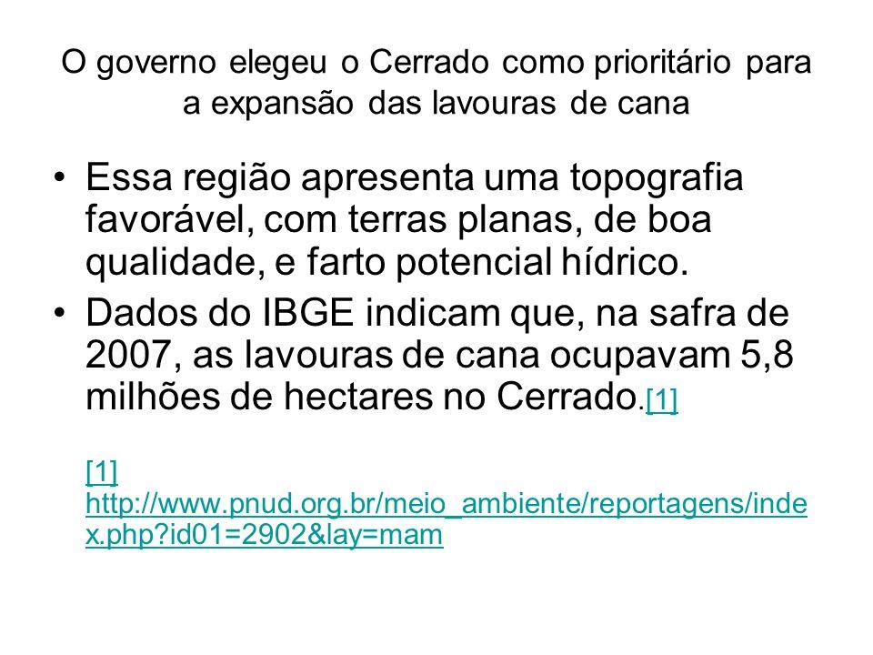 O governo elegeu o Cerrado como prioritário para a expansão das lavouras de cana