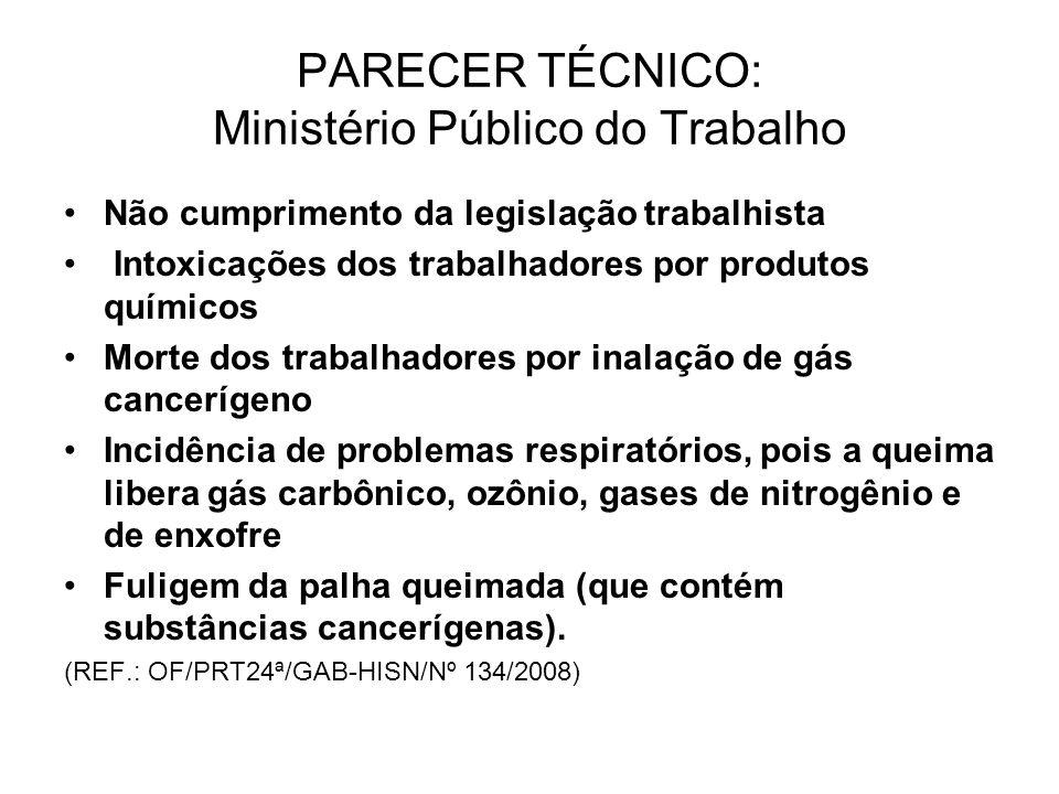 PARECER TÉCNICO: Ministério Público do Trabalho