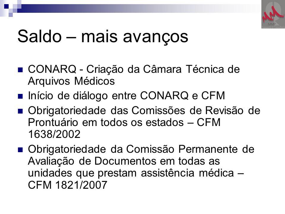 Saldo – mais avanços CONARQ - Criação da Câmara Técnica de Arquivos Médicos. Início de diálogo entre CONARQ e CFM.