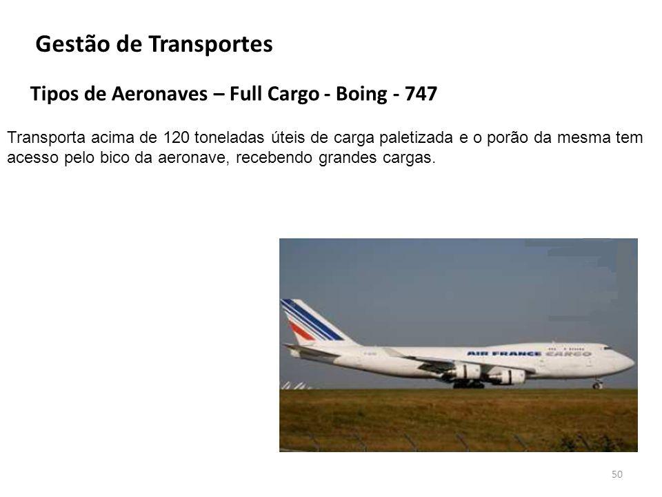 Gestão de Transportes Tipos de Aeronaves – Full Cargo - Boing - 747