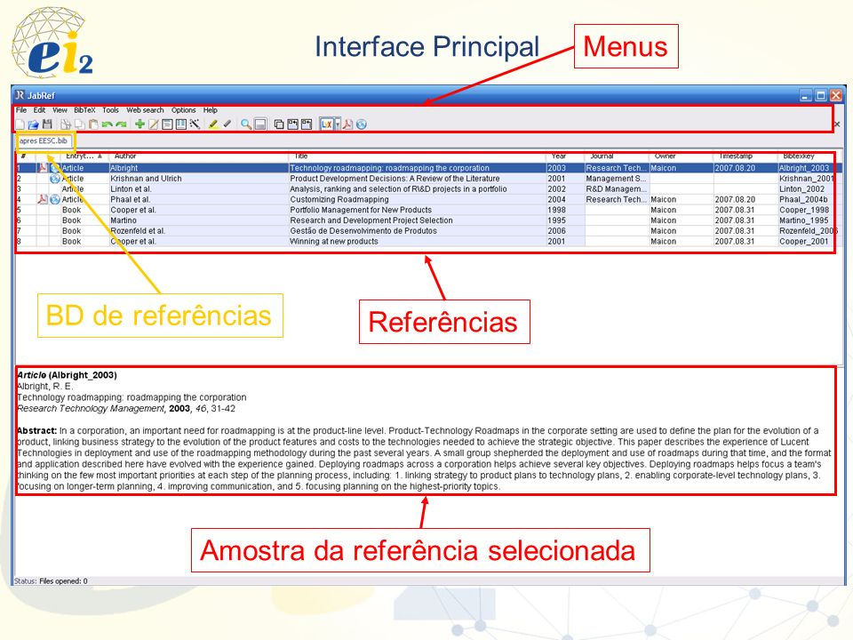 Menus Interface Principal BD de referências Referências Amostra da referência selecionada