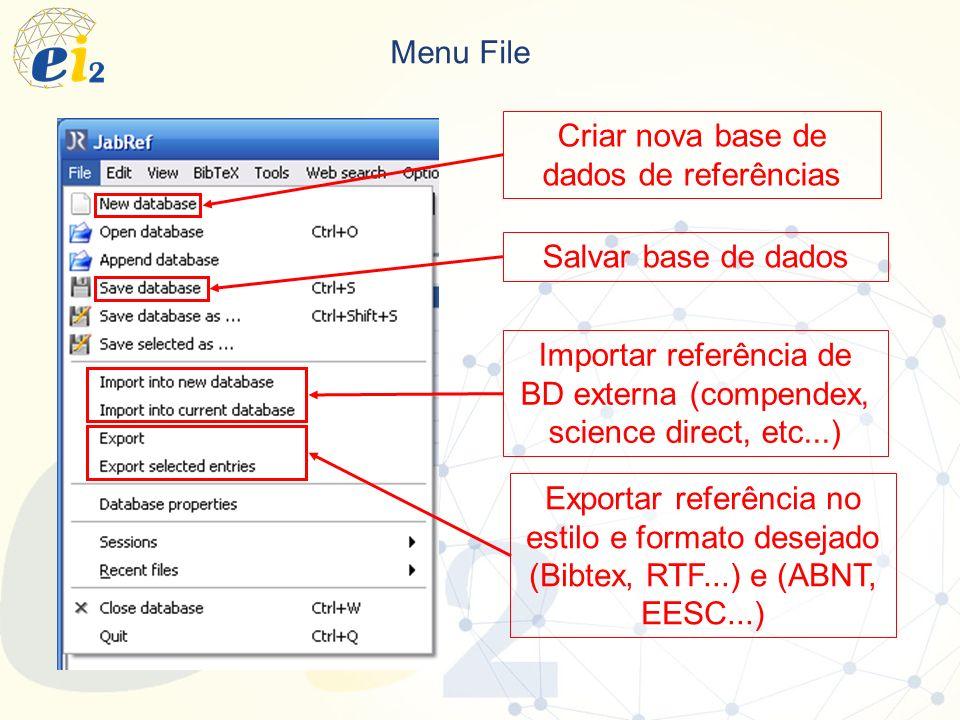 Criar nova base de dados de referências