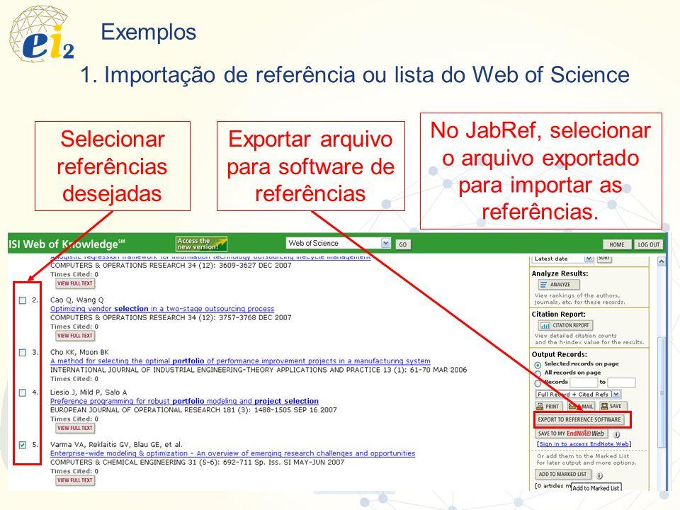 1. Importação de referência ou lista do Web of Science