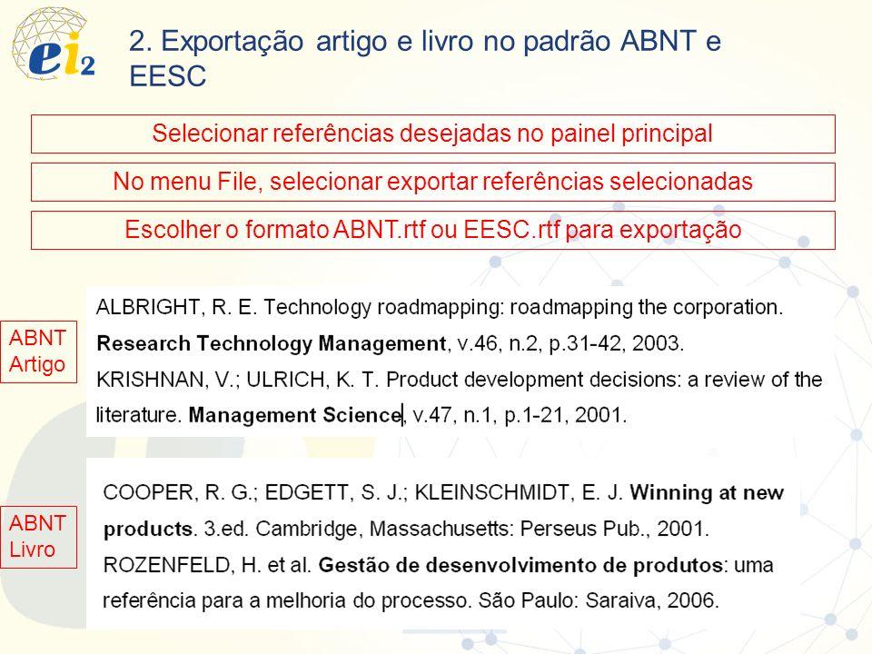 2. Exportação artigo e livro no padrão ABNT e EESC