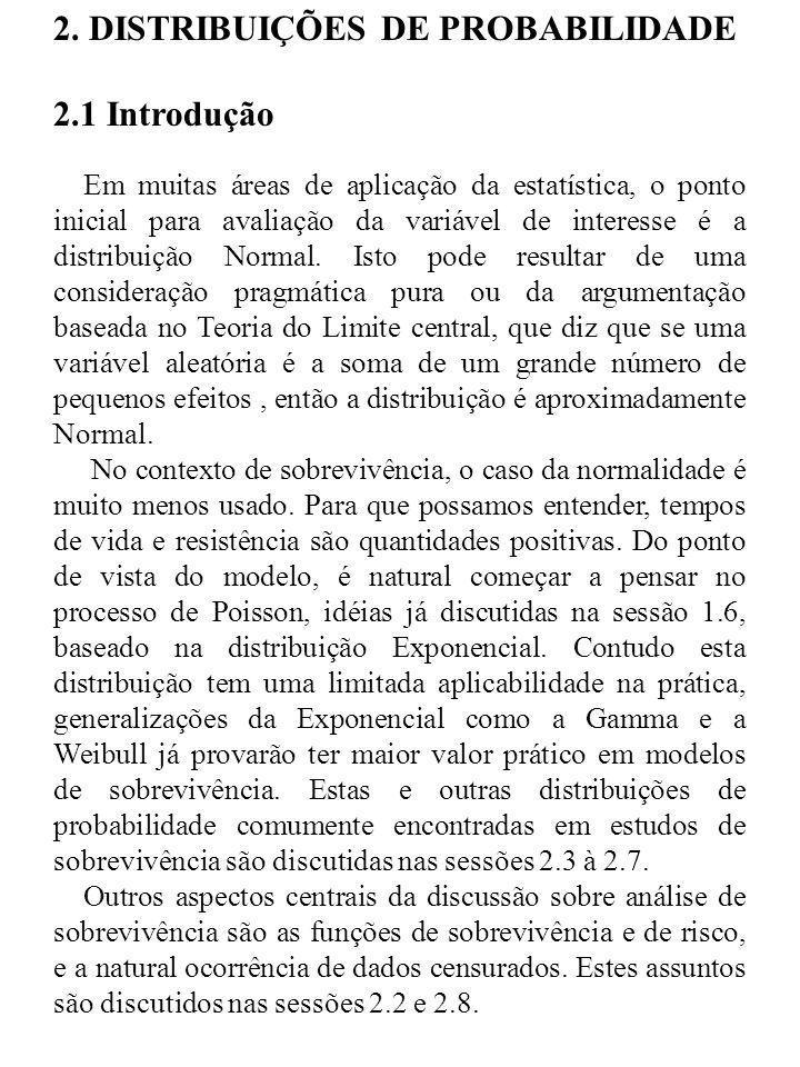 2. DISTRIBUIÇÕES DE PROBABILIDADE 2.1 Introdução