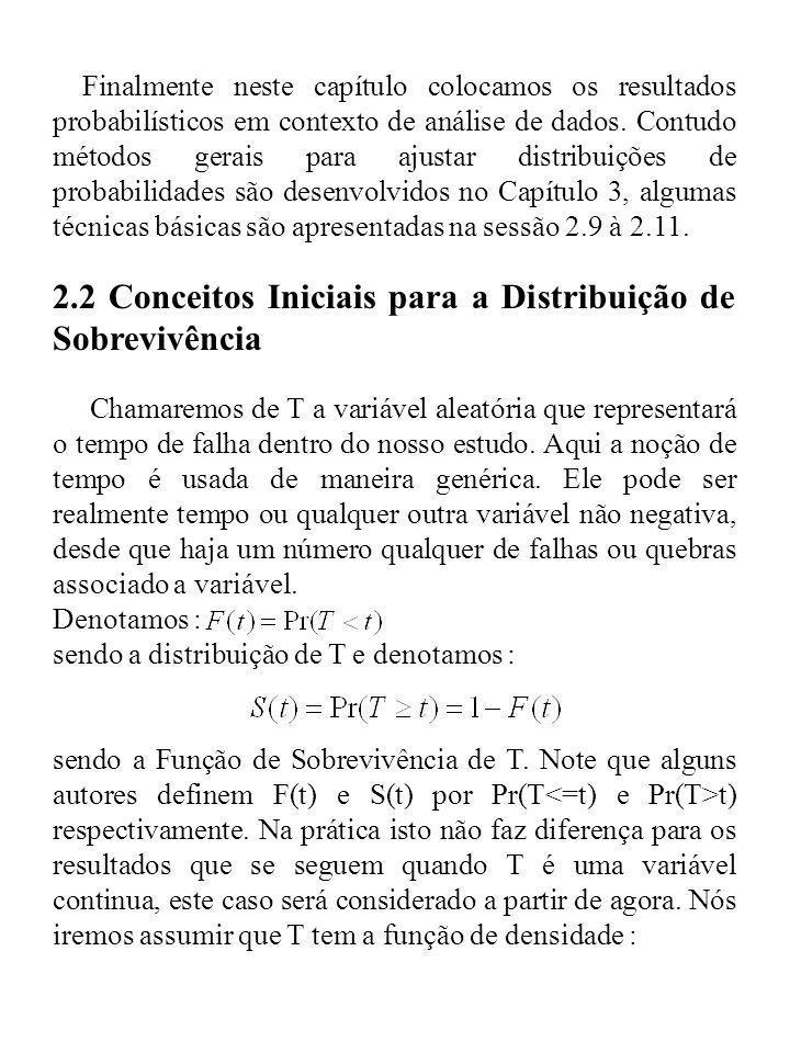 2.2 Conceitos Iniciais para a Distribuição de Sobrevivência