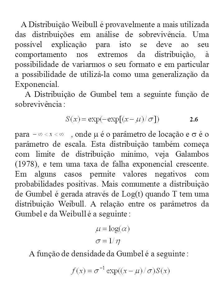 A Distribuição de Gumbel tem a seguinte função de sobrevivência :