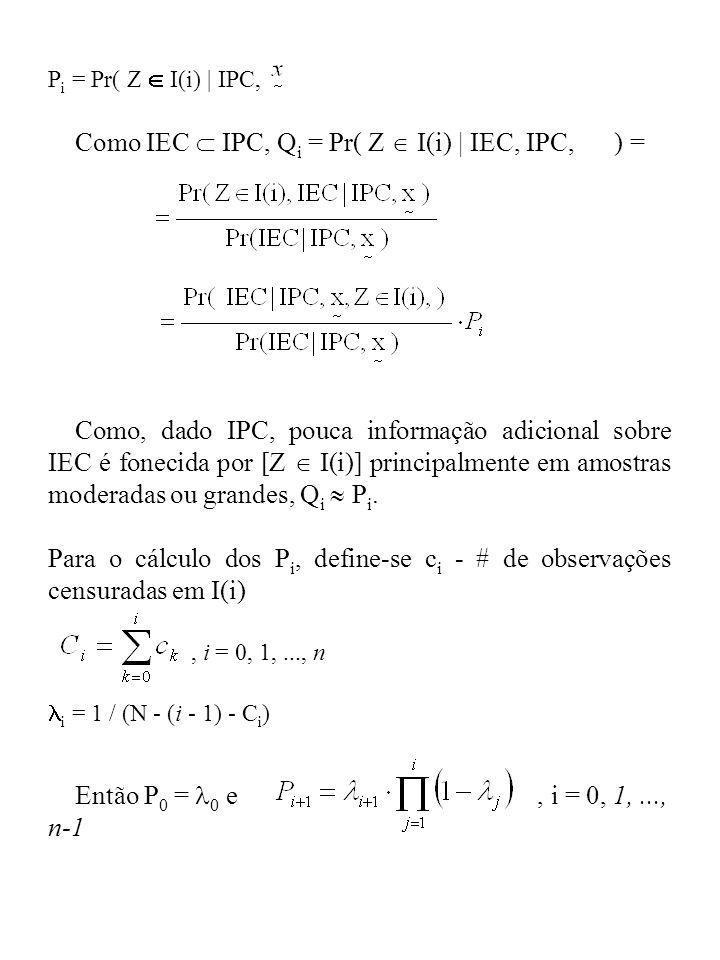 Como IEC  IPC, Qi = Pr( Z  I(i) | IEC, IPC, ) =