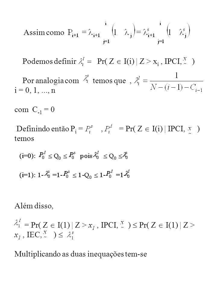 Podemos definir Pr( Z  I(i) | Z > xi , IPCI, )
