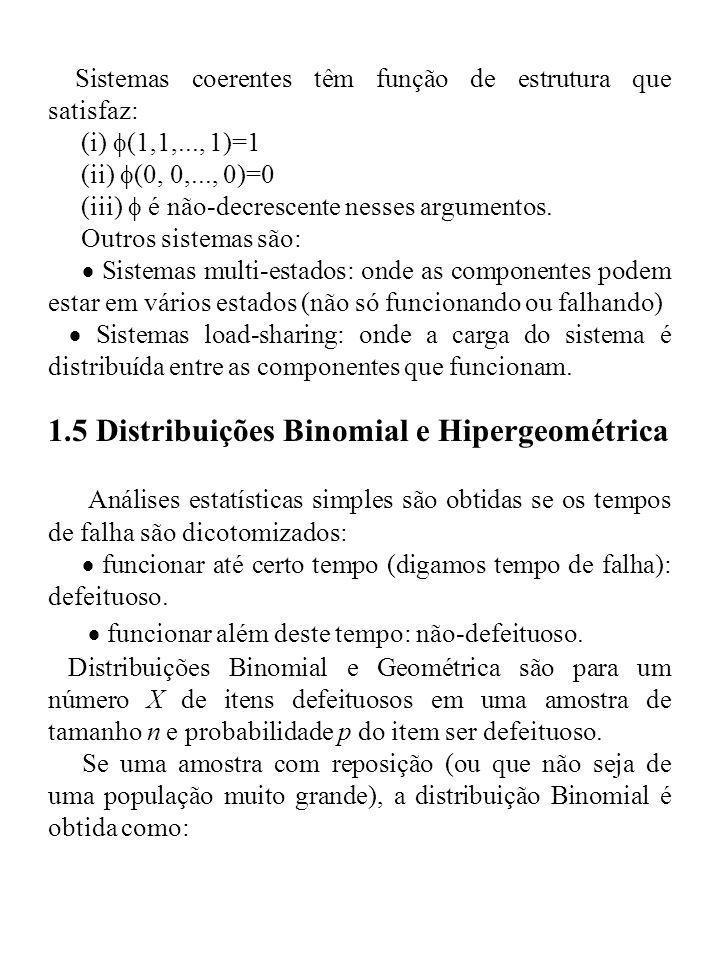 1.5 Distribuições Binomial e Hipergeométrica