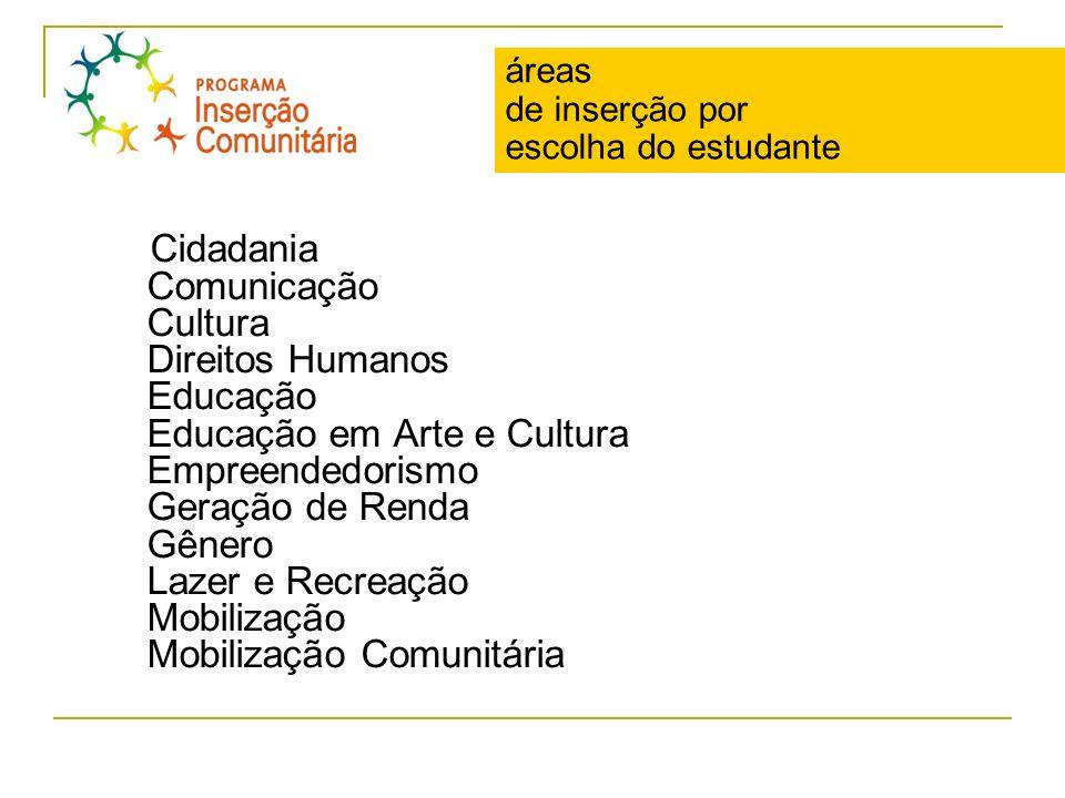 áreas de inserção por escolha do estudante