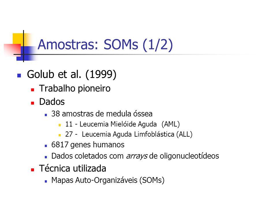 Amostras: SOMs (1/2) Golub et al. (1999) Trabalho pioneiro Dados