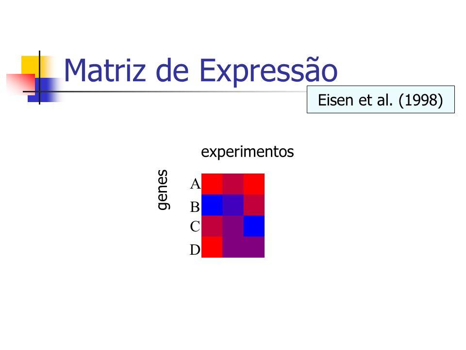 Matriz de Expressão Eisen et al. (1998) experimentos A B C D genes