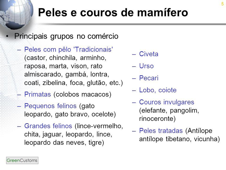 Peles e couros de mamífero