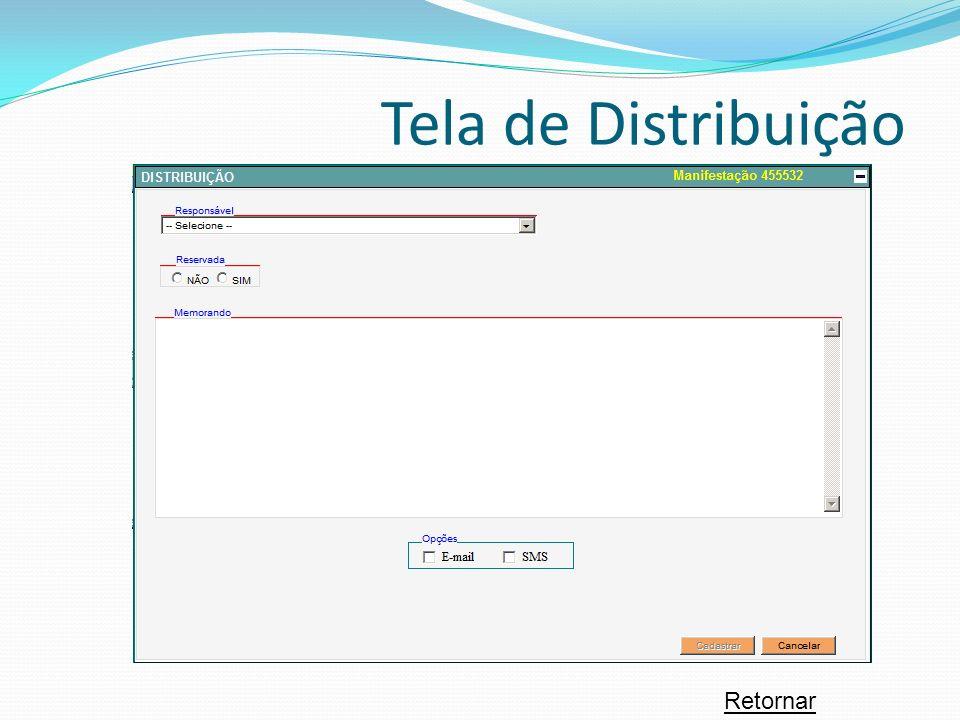 Tela de Distribuição Retornar