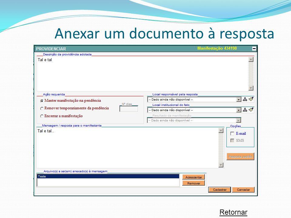 Anexar um documento à resposta