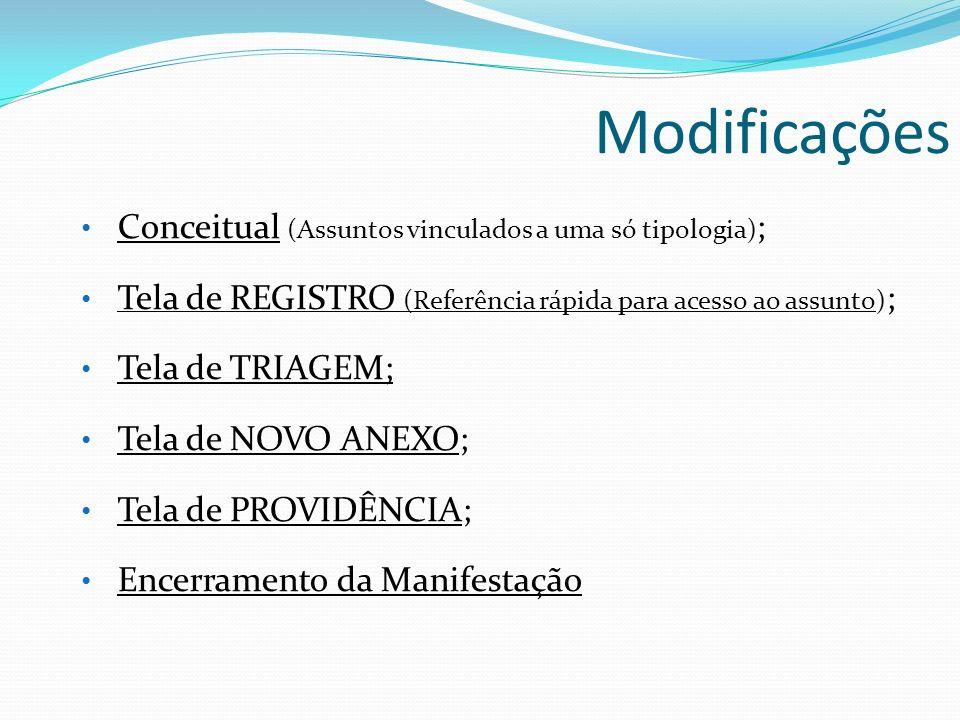 Modificações Conceitual (Assuntos vinculados a uma só tipologia);