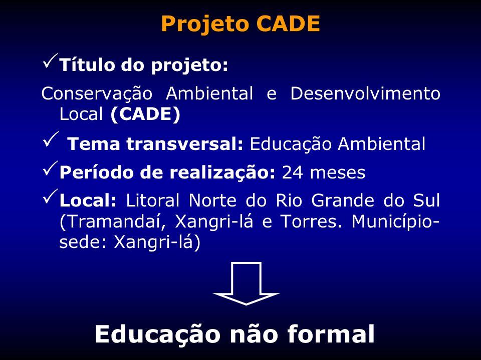Educação não formal Projeto CADE Tema transversal: Educação Ambiental