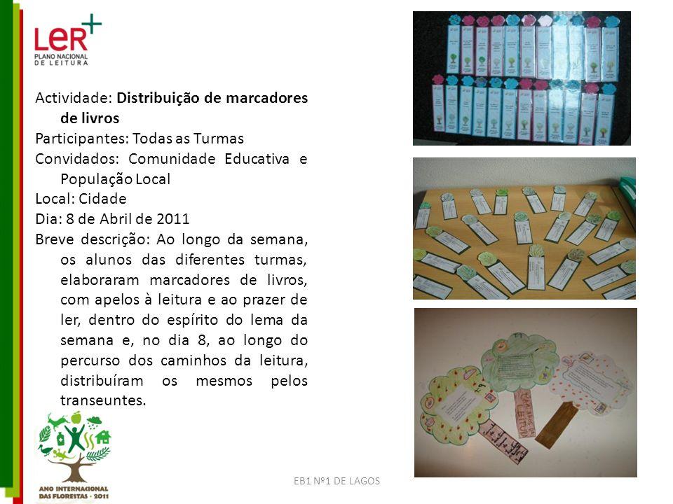 Actividade: Distribuição de marcadores de livros