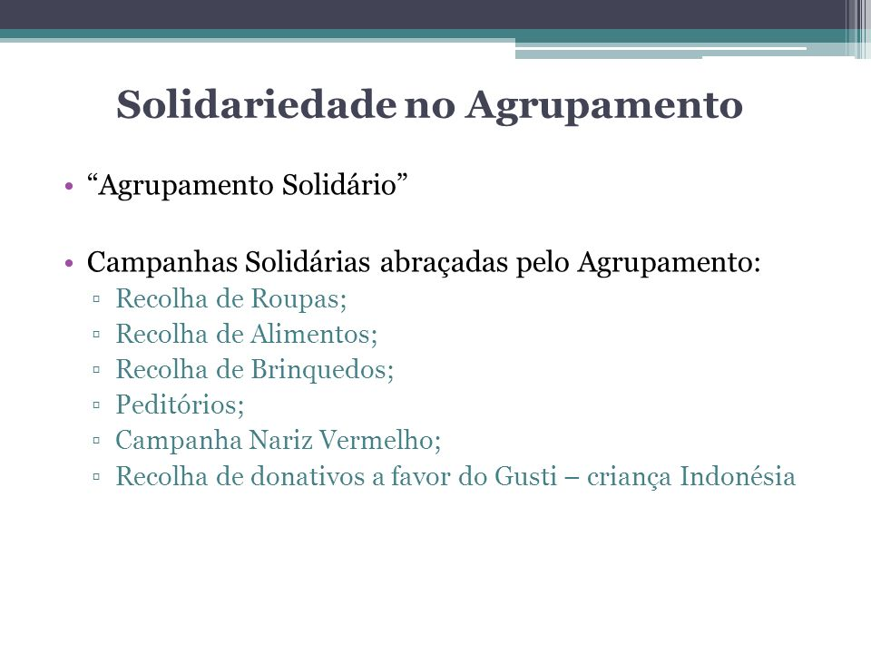 Solidariedade no Agrupamento