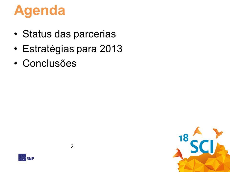 Agenda Status das parcerias Estratégias para 2013 Conclusões