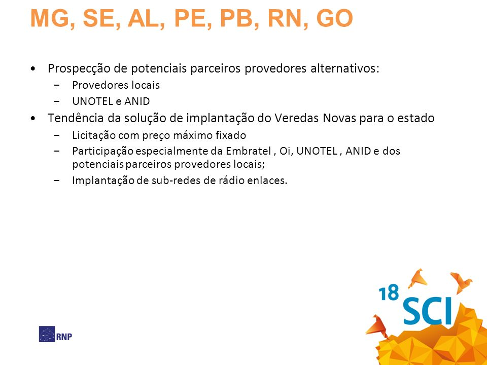 MG, SE, AL, PE, PB, RN, GO Prospecção de potenciais parceiros provedores alternativos: Provedores locais.