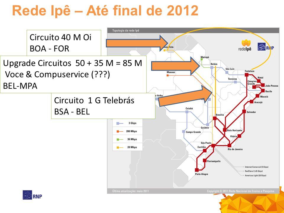 Rede Ipê – Até final de 2012 Circuito 40 M Oi BOA - FOR