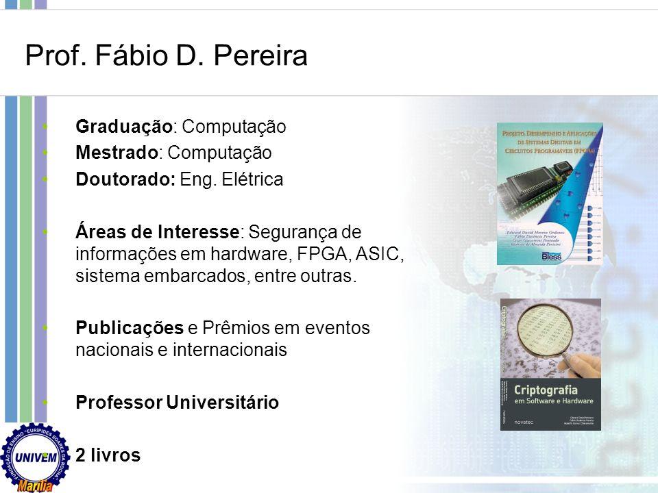 Prof. Fábio D. Pereira Graduação: Computação Mestrado: Computação
