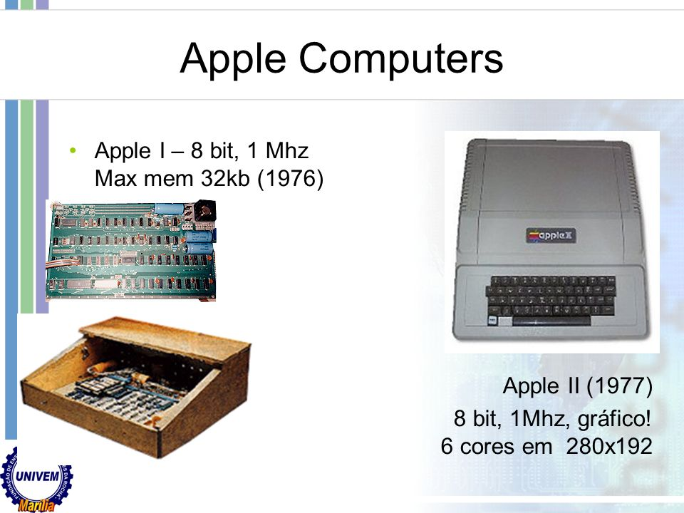 Apple Computers Apple I – 8 bit, 1 Mhz Max mem 32kb (1976)