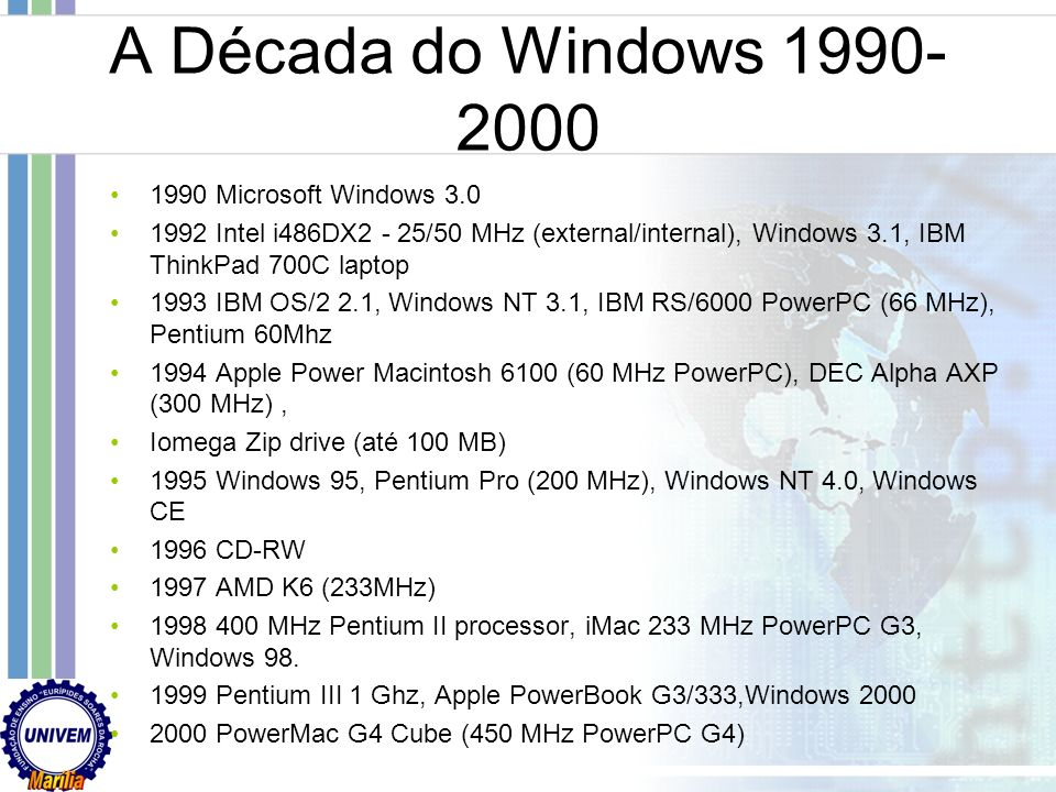 A Década do Windows 1990-2000 1990 Microsoft Windows 3.0