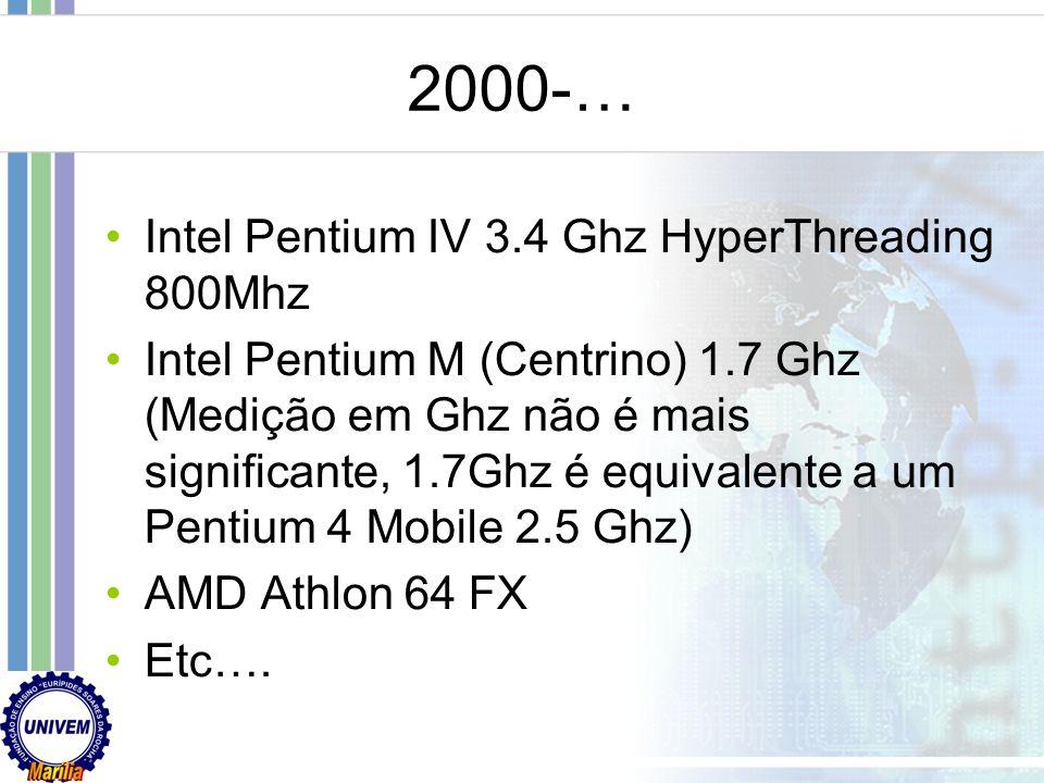 2000-… Intel Pentium IV 3.4 Ghz HyperThreading 800Mhz