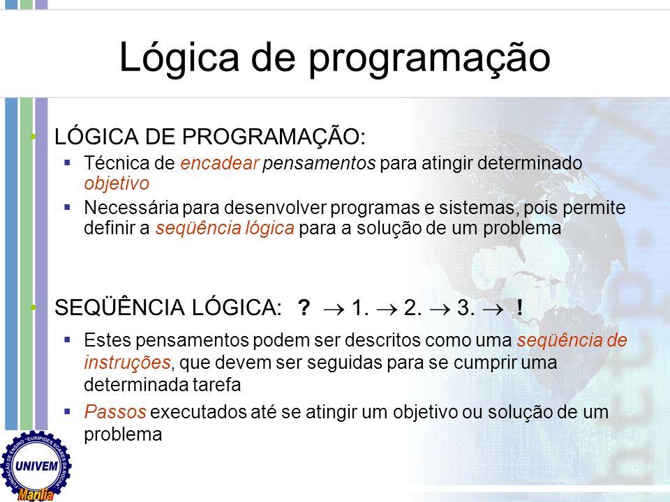 Lógica de programação LÓGICA DE PROGRAMAÇÃO: