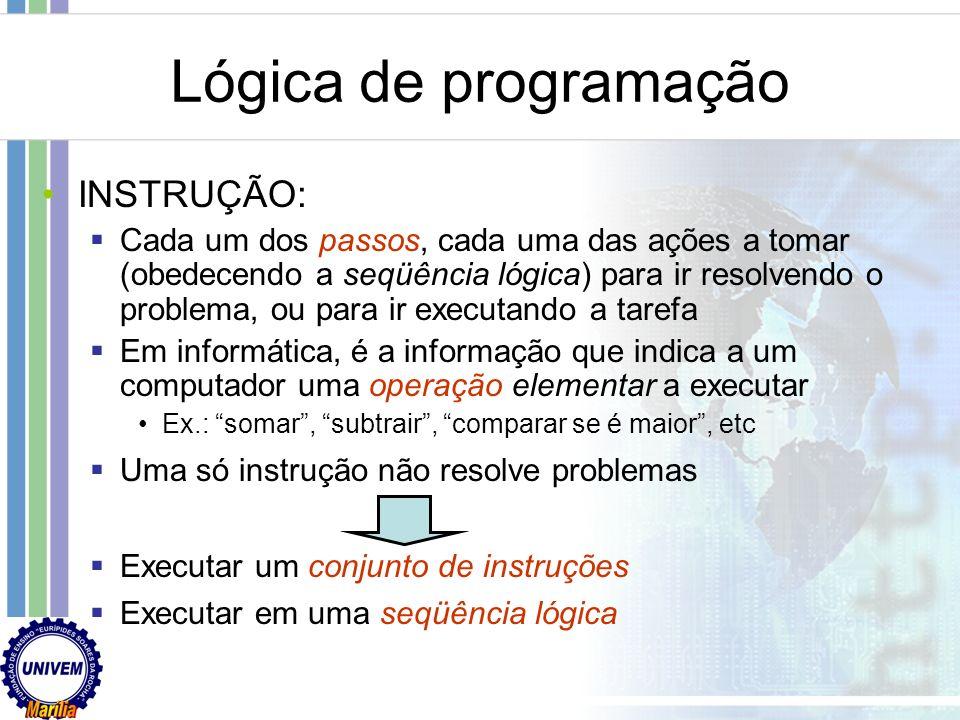 Lógica de programação INSTRUÇÃO:
