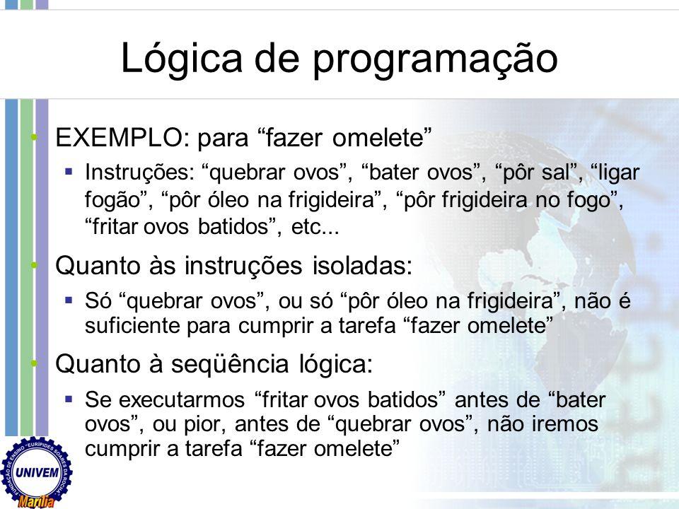 Lógica de programação EXEMPLO: para fazer omelete