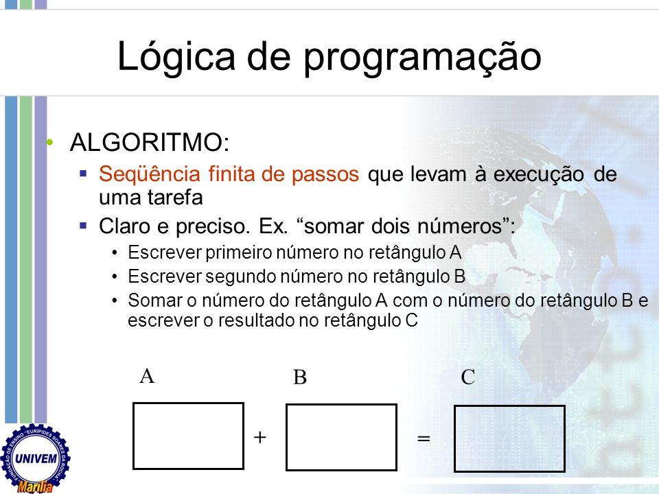 Lógica de programação ALGORITMO: