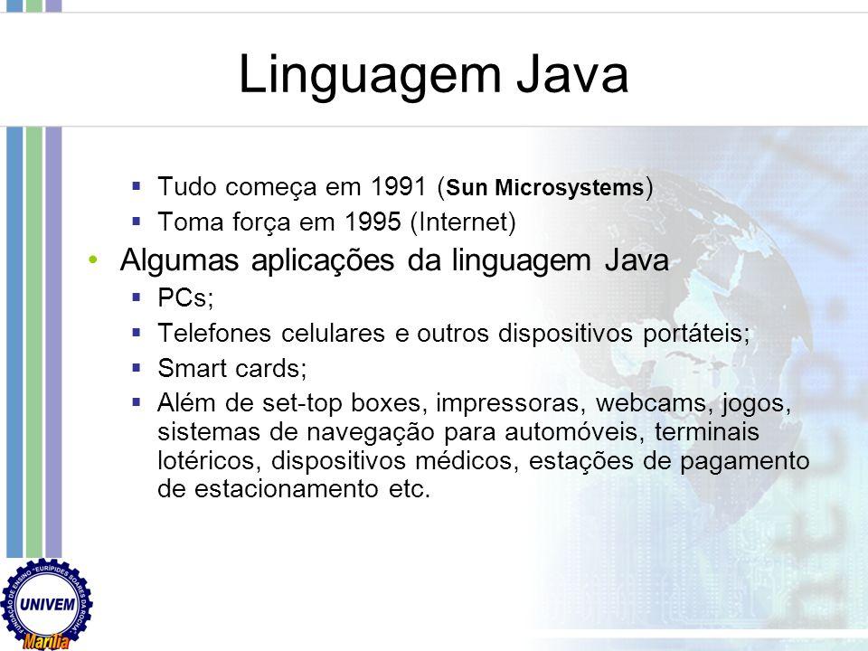 Linguagem Java Algumas aplicações da linguagem Java