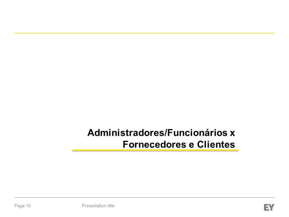 Administradores/Funcionários x Fornecedores e Clientes