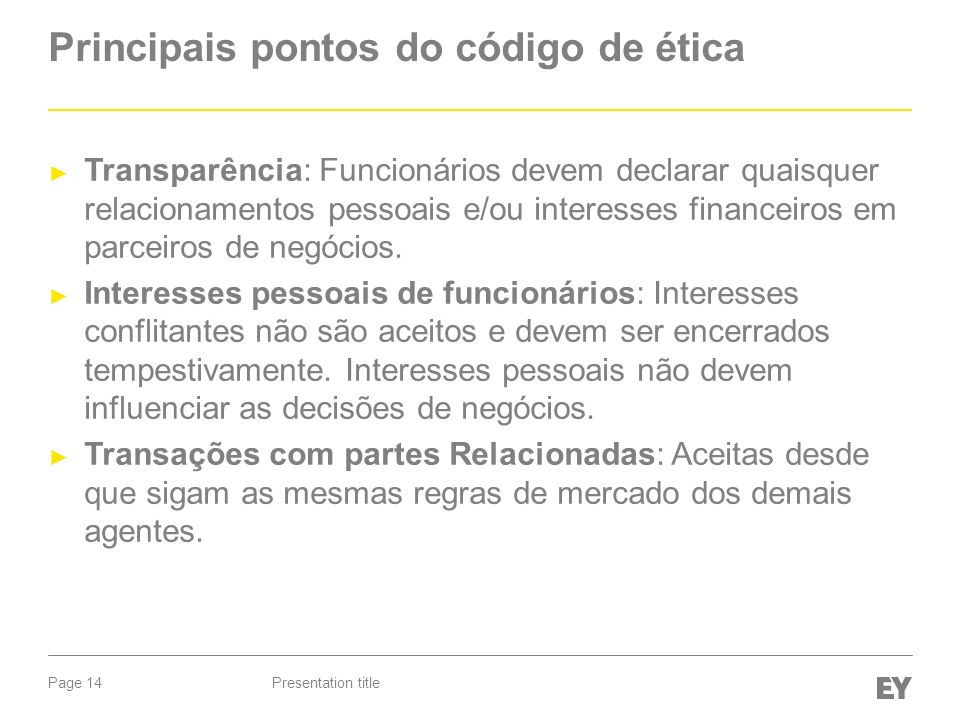 Principais pontos do código de ética