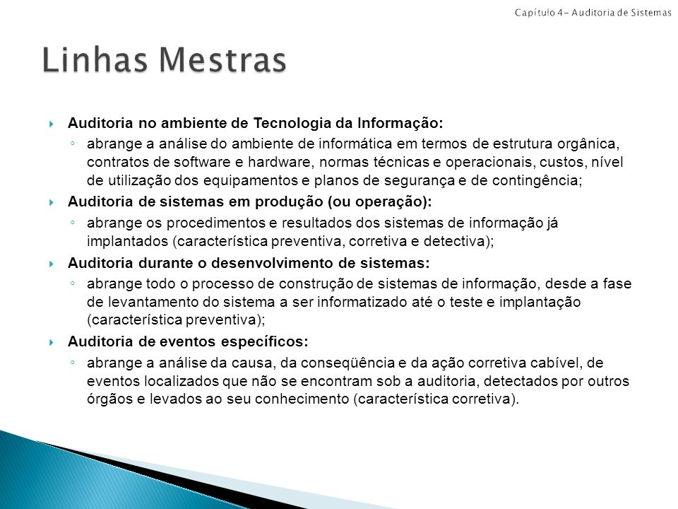 Linhas Mestras Auditoria no ambiente de Tecnologia da Informação: