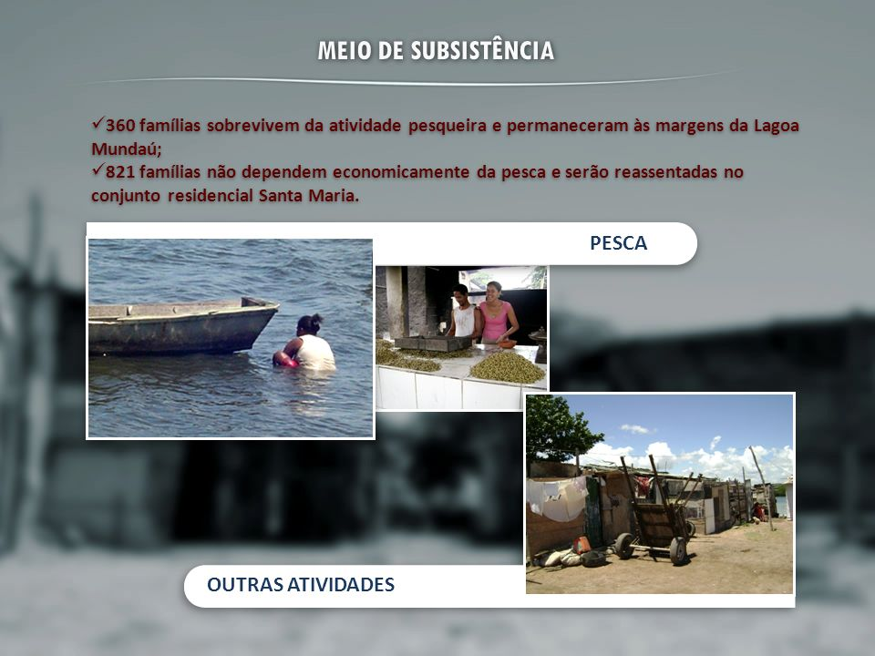MEIO DE SUBSISTÊNCIA PESCA OUTRAS ATIVIDADES