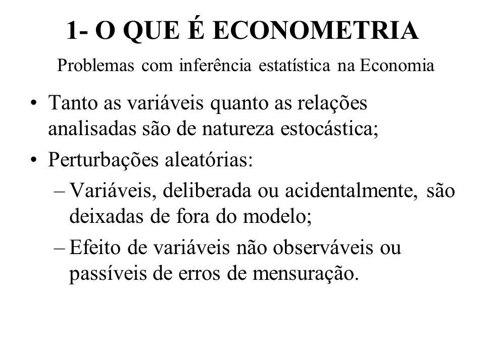 1- O QUE É ECONOMETRIA Problemas com inferência estatística na Economia