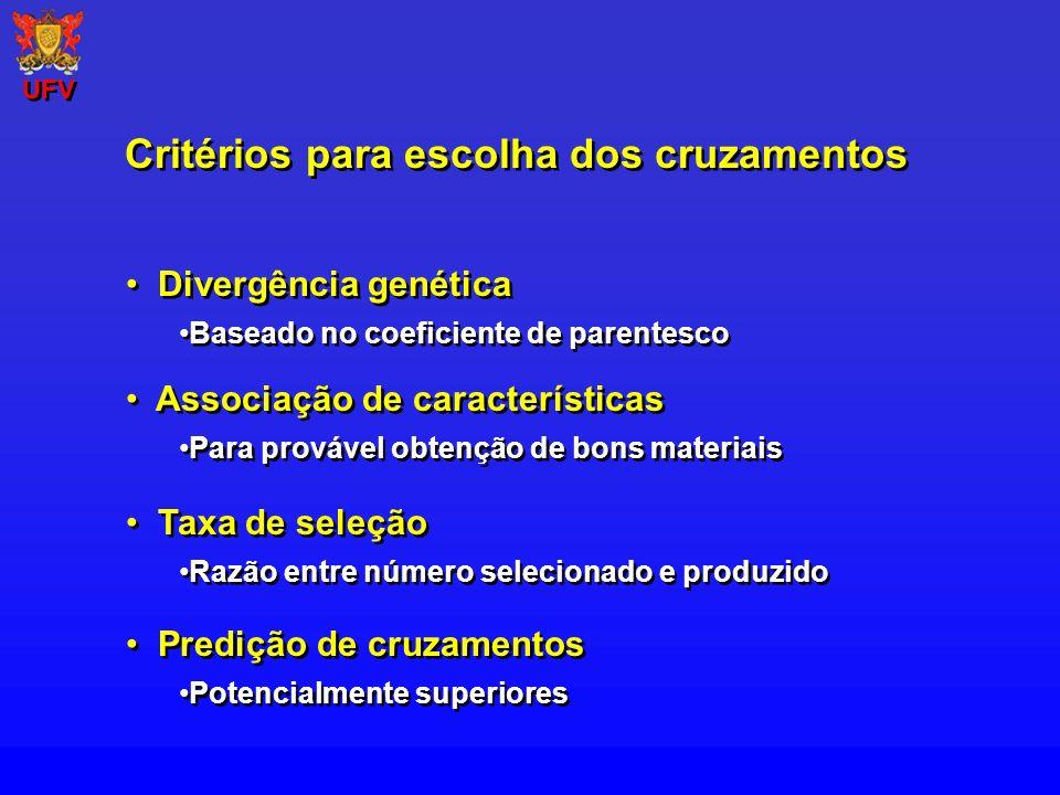 Critérios para escolha dos cruzamentos