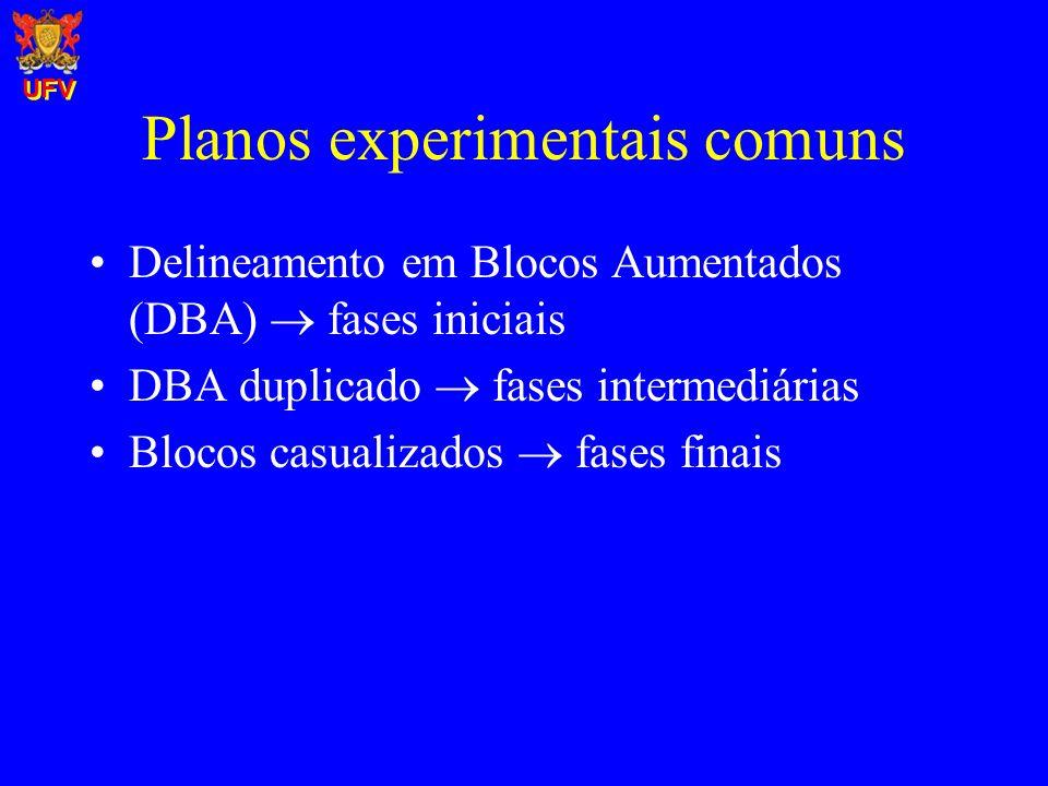 Planos experimentais comuns